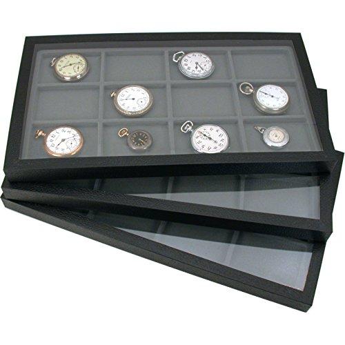 6 Jewelry Box Displays Trays Cases Gray Inserts New