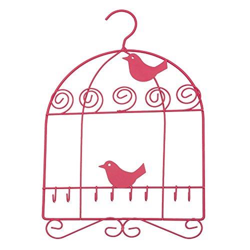 Multi Hook Hanging Closet Jewelry Organizer ~ Jewelry Hanger Fuchsia Birdcage