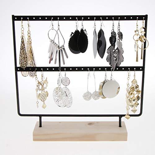 Jewelry Display Wood Base Metal Jewelry Holder Display Stand Dangle Earrings Hanging 44 Holes