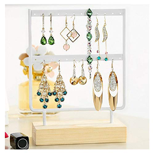 Staron Jewelry Display Stands for Shows Wood Base Metal Jewelry Holder Display Stand Dangle Earrings Hanging 24 Holes White