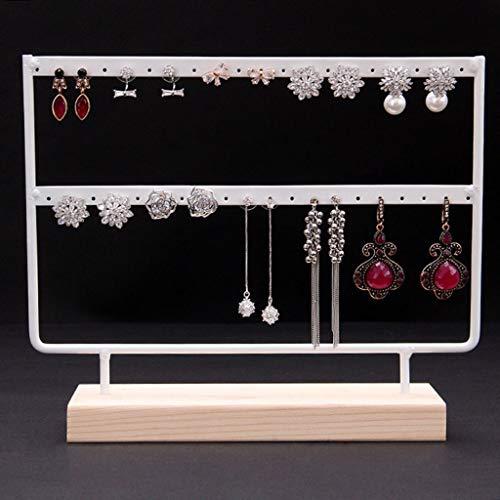 Wooden Earring Holder Organizer Wood Base Metal Jewelry Holder Display Stand Dangle Earrings Hanging 44 Holes Jewelry Organizer Storage Rack White