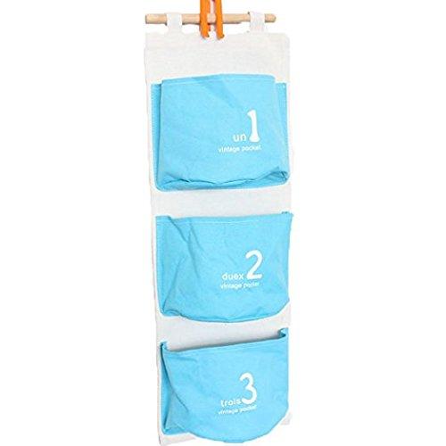 3 Pocket Fabric Hanging Wall OrganizerBlue