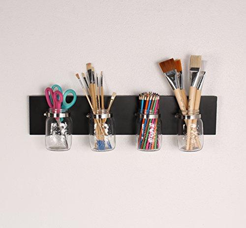DesignOvation Ian Mason Jar Decorative Hanging Wall Organizer Black