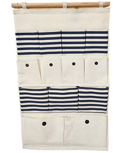 LinenCotton Fabric 13 Pockets Wall Door Closet Hanging Storage Bag OrganizerNavy StripeSize74cm45cm