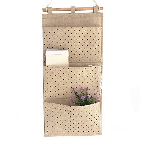 Moolecole LinenCotton Fabric Wall Door Closet Hanging Magazine Holder 3 Pockets Home Organizer Storage Bag