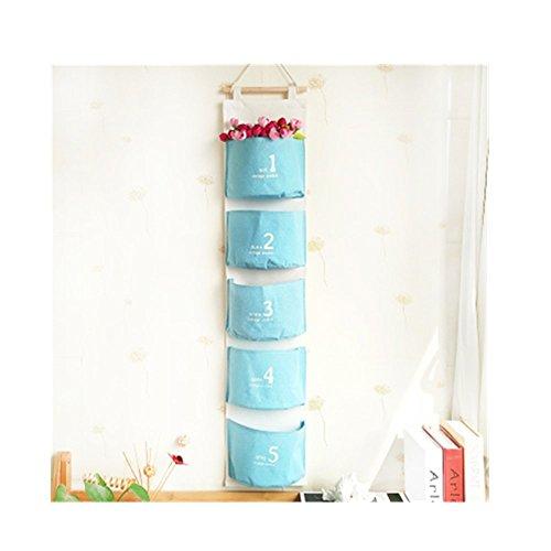 S Kaiko Fabric Hanging Organizer with Pockets Hanging Storage Bag Case Wall Door Closet Wall 5 Pockets blue
