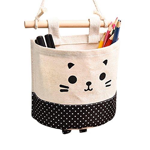Topbeu Cute Cat Cotton Linen Door Wall Closet Hanging Storage Bag Sundries Organizer Black Dots