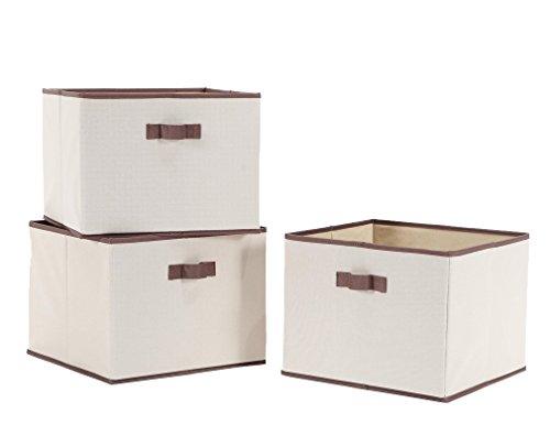 StorageManiac Foldable Storage Bin with Handles Storage Basket Fabric Closet Drawer Pack of 3