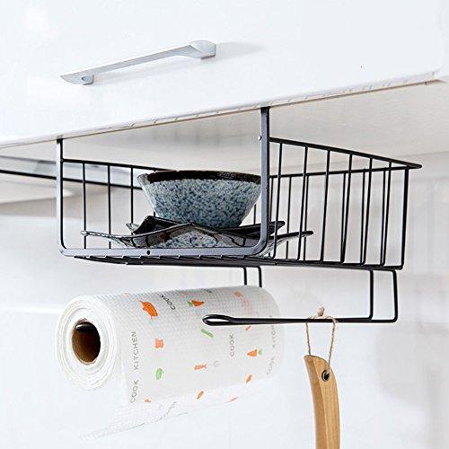 Home-organizer Tech Under Cabinets Shelf Basket Rack Shelf Storage Organization Basket Black