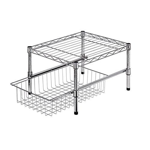 Honey-Can-Do SHF-01867 Adjustable Shelf with Under Cabinet Organizer Chrome