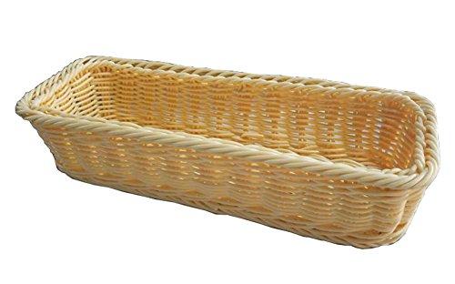 Beige Rattan Chopsticks Basket Flatware Storage Tray Cutlery Organizer