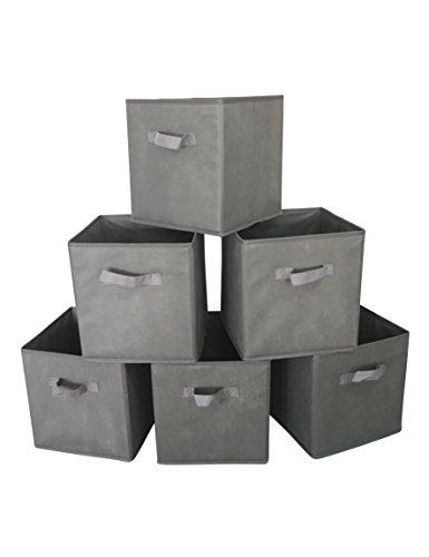 Marvel O Bug Set of 6 Foldable Cloth Storage Cube Basket Bins Organizer Containers Drawers Grey
