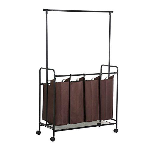 Rolling Laundry Cart Sorter Hamper 4 Bag Washing Clothes Bin Storage Basket Rack