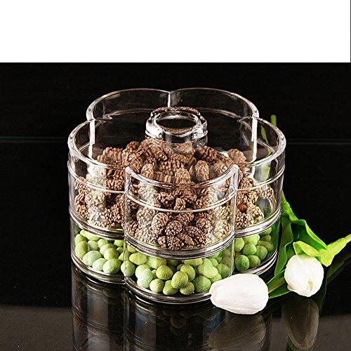 Fruit tray dried fruit traycandy platedouble layersub-gridliddedplastic - snack platedessert platestorage box-A