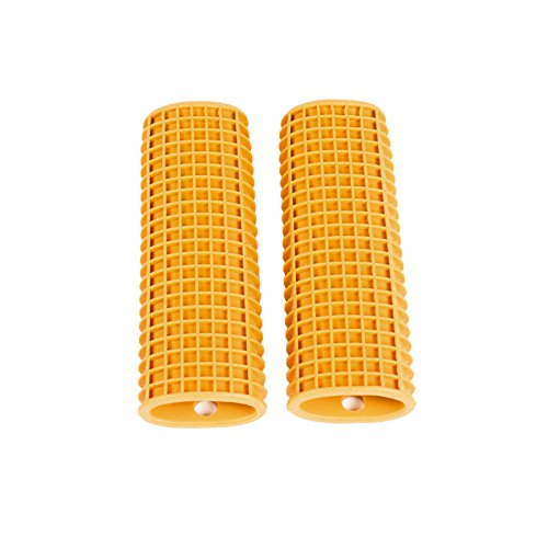 Silicone-Kitchen-Utensil-Pot-Pan-Handle-Holder-Sleeve-Cover-Waffle-Grip-2-PackGold color