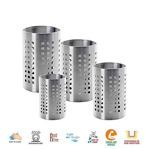 Khandekar Set of 4 Stainless Steel Utensil Cutlery Holder Silverware Caddy Organizer Stackable Flatware Countertop Organizer for Home Kitchen - 5 45 4 35