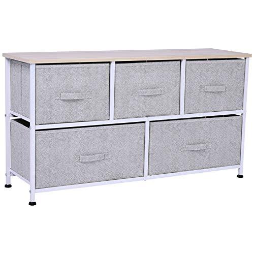 HOMCOM 40 L 5 Drawer Horizontal Storage Cube Dresser Unit Bedroom Organizer Livingroom Shelf Tower with Fabric Bins
