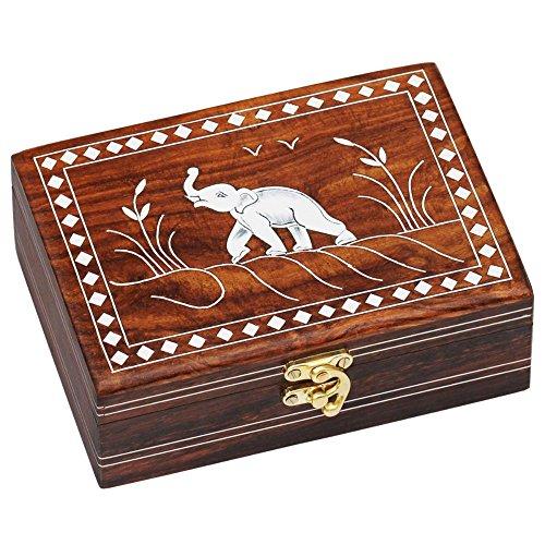 SouvNear Dancing Elephant Wooden Storage Box - Handmade Jewelry Box  Decorative Box  Treasure Chest  Keepsake Box for Women and Men from India