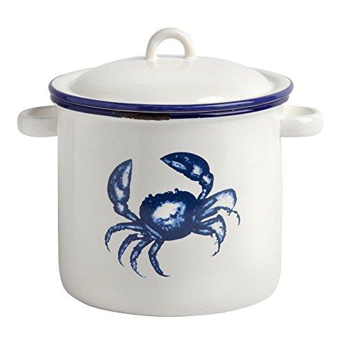 Nantucket Home Ceramic Blue Crab Lobster Pot Kitchen Storage Jar 425H