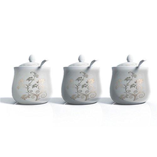 ceramic Spice jar setSpice jars salt shaker three-piece suitCreative home kitchen and kitchen storage jarsKitchen storage tank-A