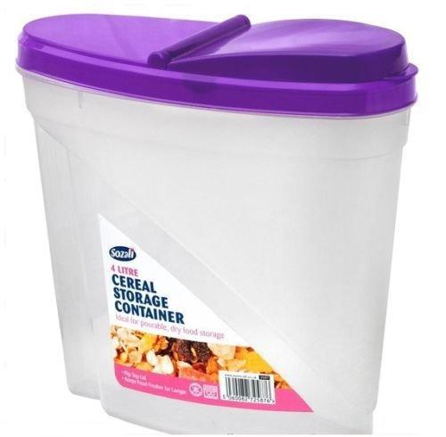 2 x 4L Plastic Pet Pasta Cereal Rice Dry Food Storage Flip Lid Container Dispenser