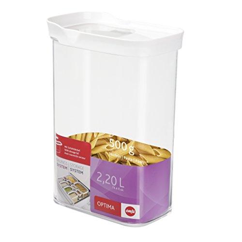 Emsa Dry Food Storage Container Optima Rectangular 744 fl oz In WhiteTransparent TransparentWhite