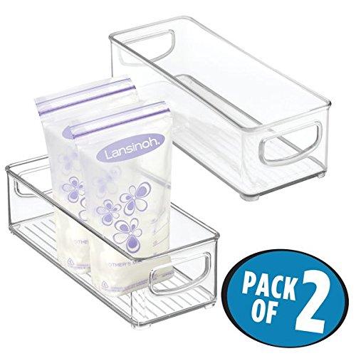 mDesign Baby Food Organizer Bin for Breast Milk Storage BagsFormula - Pack of 2 10 x 4 x 3 Clear