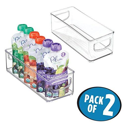 mDesign Baby Food Organizer Bin for Breast Milk Storage BagsFormula - Pack of 2 10 x 4 x 3 Each Clear