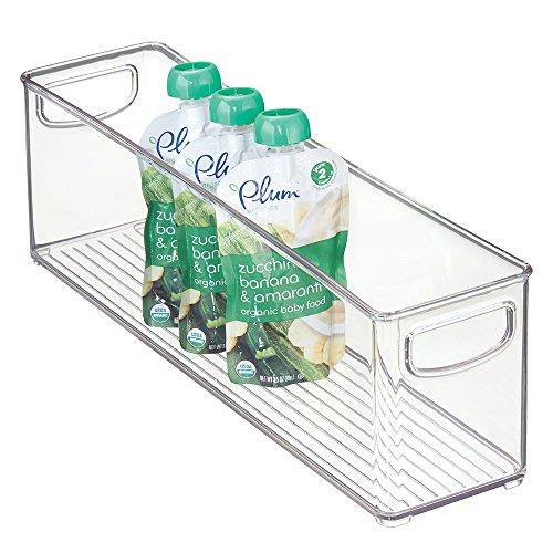 mDesign Baby Food Storage Organizer Bin for Pouches Formula Jars - 16 x 4 x 5