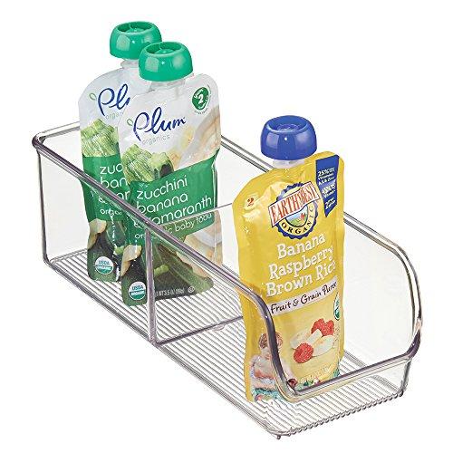 mDesign Baby Food Storage Organizer Bin for Pouches Formula Jars - 4 x 11 x 35 Clear