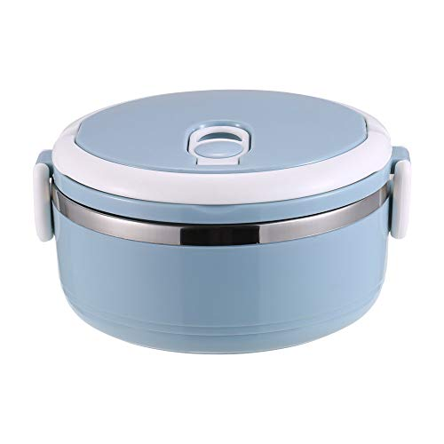 Decdeal Stainless Steel Lunch Box 1-Tier Layer Thermal Bento Box Leakproof Stackable Food Container with Handle Insulated Meal Box Suitable for Office Kids Student Camping Blue 07L