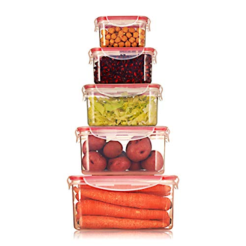 Sealco Food Storage Meal Prep Lunch Box Containers with Lids - Reusable Plastic Containers - BPA-Free Stackable Microwave Dishwasher Freezer Safe - Airtight - 5 Piece Set