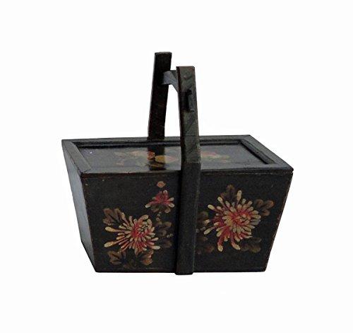 Vintage Chinese Rectangular Graphic Wooden Handle Food Bucket  Wedding Basket afs556
