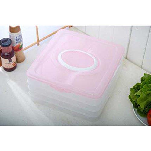 AROMEE Refrigerator Storage Food Box Dumpling Container Holder Organizer Four Layers 4 Pink