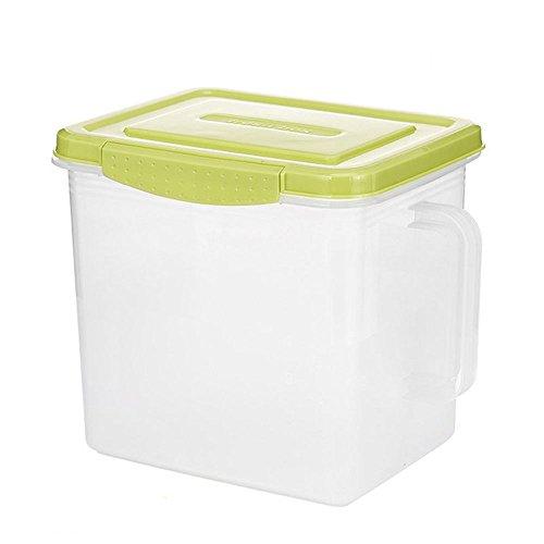 Kasmena Creative Fridge Storage Box Kitchen Plastic Sealed Up Food Fresh Keeping Box Handy Cleaning Box with Cover Lumber Storage Organizer 9L Large Capacity CF-139 Green