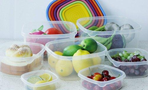 PerPor Square Plastic Refrigerator and Freezer Food Storage Organizer Bins HolderRainbow Colors1 Sets7 PiecesClear