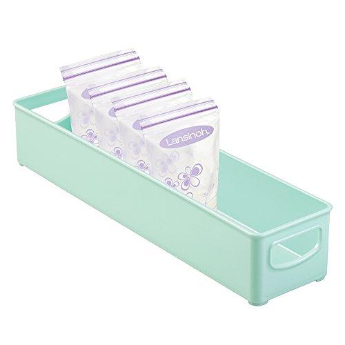 mDesign Baby Food Storage Organizer Bin for Breast Milk Formula Sippy Cups - 16 x 4 x 3 Light Mint Green