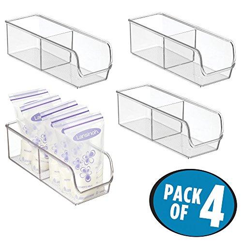 mDesign Breast MilkFormula Storage Organizer Bin for Baby Food - Pack of 4 4 x 11 x 35 Clear