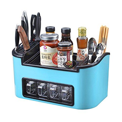 Bestwoohome Plastic Kitchen Storage Box SpiceKnife Rack Flatware Organizer Blue