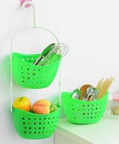 Multipurpose Storage Basket3 pcs bathroom plastic kitchen storage baskets Green
