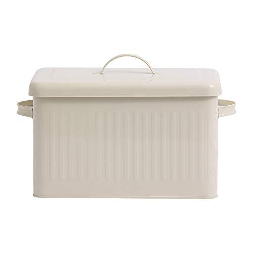 8L Large Metal Bread Box With Lid Dust Proof Case Cream White Retro Storage Bin Kitchen Food Container Organizer Storage BoxCream