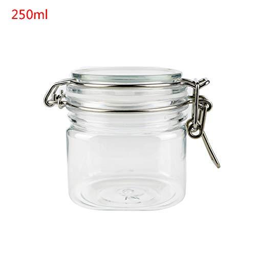 eletyuty Storage Jar 1 Piece 250ML Plastic Square Clip Top Storage Jar with Airtight Seal Lid Kitchen Food Container Tableware Preserving Cosmetic Cream Organizer