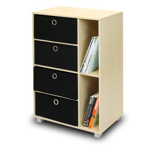 Furinno 11159SBEBK Multipurpose Storage Cabinet w4 Bin Drawers Steam BeechBlack