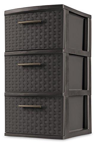 Sterilite 26306P02 Decorative 3-Drawer Storage Weave Tower Espresso