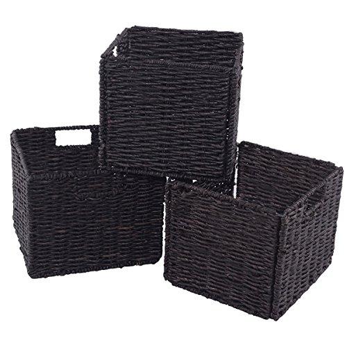 Giantex Set of 3 Bamboo Storage Baskets Folding Nesting Rectangular Organizer Home Room 3Corn Husk Covered