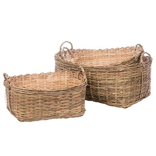 Skalny Oval Bamboo Storage Baskets Set of 3 155 x 1275 x 7252075 x 19 x 95