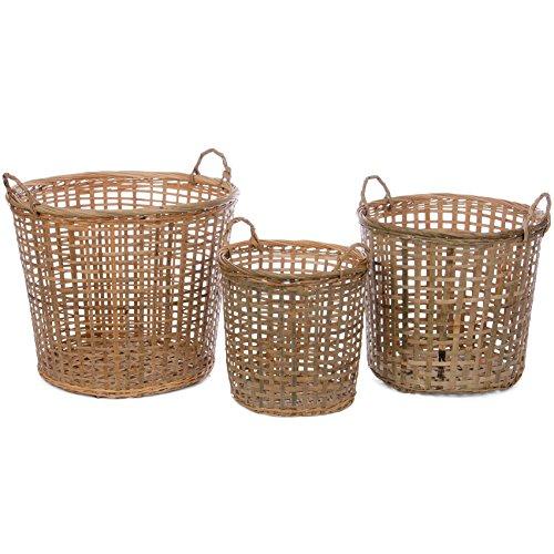 Skalny Round Bamboo Storage Baskets Set of 3 105 x 105 x 10751625 x 1625 x 14