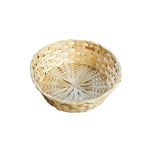 wellhouse Natural Handmade Straw Woven Storage Basket Round Bamboo Nesting Basket for Home Kitchen Office Snacks Debris 1181×393Inch30×10cm Storage Basket-1 Pack