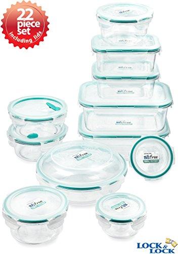 Lock&Lock LBF611S11 Bisfree Food Storage Container Set Clear 22-Piece