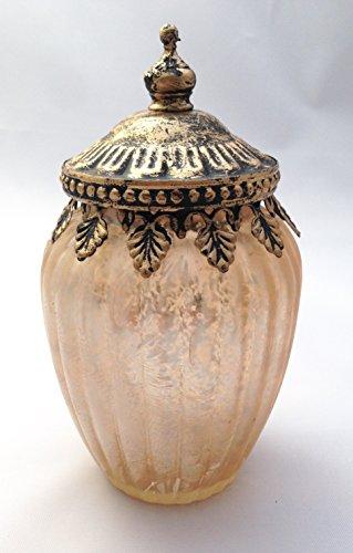 Creative Gold Bronze Antique Brass Looking Glass Decorative Container with Lid Candle Holder Tea Light Votive Antique Vase Christmas Kitchen Table Decoration Seasonal Bathroom Decor
